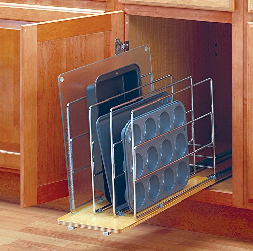 Out Tray Divider Roll - Full Extension Roll-out Tray Divider with Heavy gauge Wire construction and a finished Wood Shelf (Width: 5-15/16