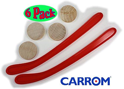 Carrom Nok Hockey Replacement Equipment Set Includes 2 Sticks, 4 Pucks & Bonus ''Matty's Toy Stop'' Storage Bag - 6 Pack by Carrom (Image #1)