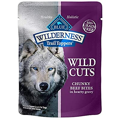 Blue Buffalo Wilderness Trail Toppers Wild Cuts High Protein Grain Free, Natural Wet Dog Food, Chunky Beef Bites in Hearty Gravy 3-oz pouch (pack of 24)