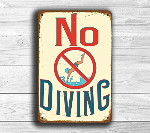 Pool Signs, No Diving Sign, Vintage style No Diving Signs, Swimming pool sign, Outdoor Pool Signs, Pool Decor, No Diving Metal Tin Sign 16 x 12inch. - Diving Sign