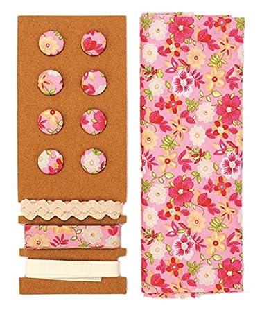 Textil-Set rosa-pink Blumen 48x48cm Bänder 3x1m 8 Knöpfe