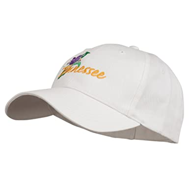 21c4f8b038a E4hats USA State Tennessee Flowers Iris Embroidered Organic Cotton Cap -  White OSFM