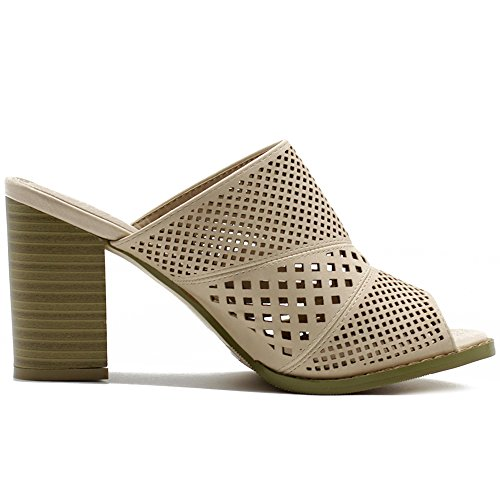 Picture of Ollio Women's Shoe Cutout Slip On Peep Toe Chunky Heel Mule Sandals