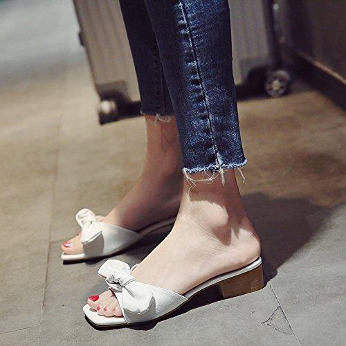 semplicità pantofole pantofole versatile con grassetto bianco esterna femmina di 38 fankou Bow cool Estate con e Tie elegante estate qanIPw
