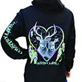 Country Life Dream Catcher Deer Heart Black Pullover Hoodie (X-Large) offers