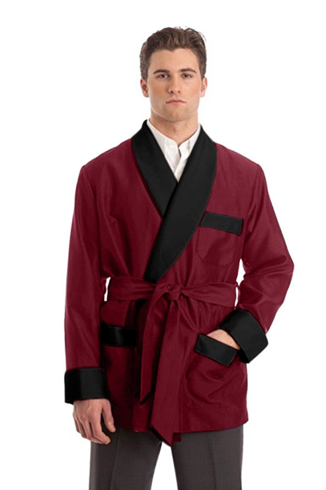 Duke & Digham Men's Smoking Satin Jacket (X-Large, Burgundy) by Duke & Digham