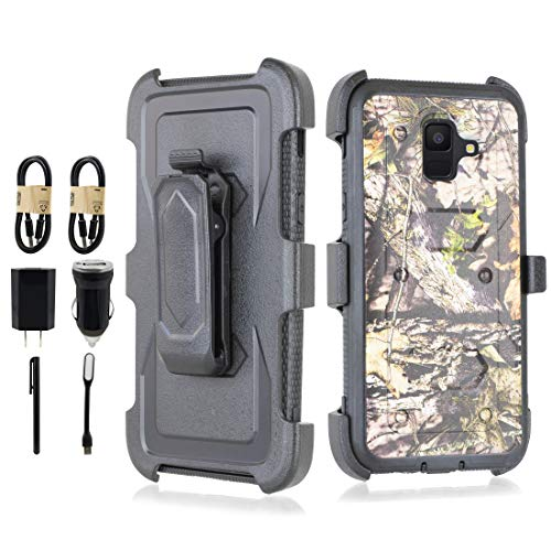 for Samsung Galaxy A6 (2018), 6goodeals Heavy Duty Armor Shockproof Protection Case Built in Screen Protector Belt Swivel Clip Kickstand [Accessory Bundle] (Orange Camo)