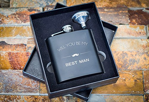 Best Man Proposal Gifts- Will You Be My Best Man Flask Box Set- Whiskey Flasks For Asking Best Men – Extra Thick 5mil #304 Stainless Steel, Laser Engraved Design, Black 2PC Best Man (Unique Gift Card Presentation)