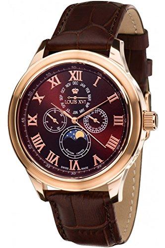 Louis XVI Men's-Watch Élysée le Grand l'or Rose brun Swiss Made Moonphase Analog Quartz Leather Brown ()