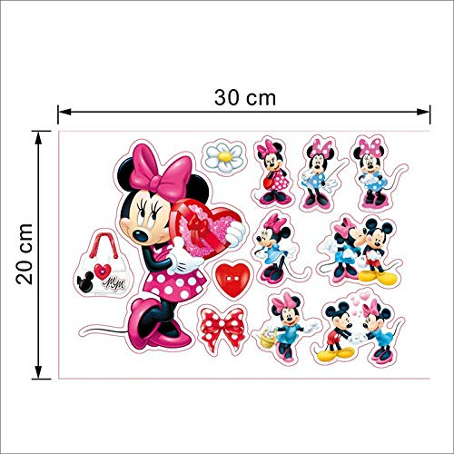 Sophie Jalex Wall Stickers - Cartoon Mickey Minnie Mouse Baby Home Decals Wall Stickers for Kids Room Baby Bedroom Wall Art Nursery Amusement Park DIY Poster 1 PCs ()