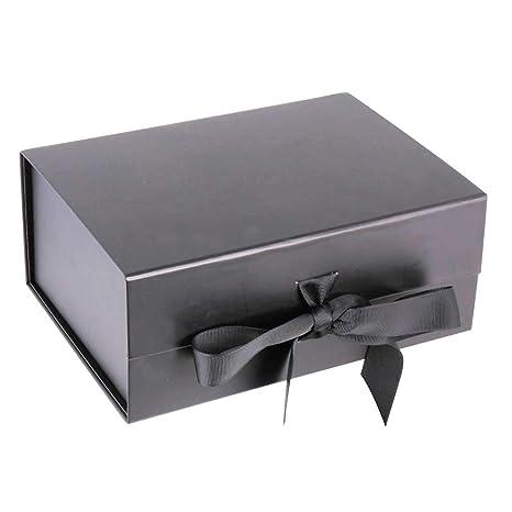 Caja de regalo de lujo de color negro mate y pesado con tapa magnética sellada –
