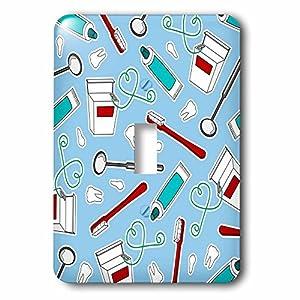 3dRose lsp_165818_1 Cute Dentist Dental Hygienist Print Blue Light Switch Cover 7