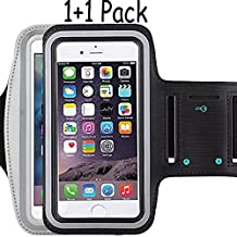 Universal Water Resistant Sports Armband,iBarbe,Bundle with Screen Protector for iPhone 7/6/6S Plus,LG G6 G5,Galaxy s8,s8 plus s7 s6 Edge,Note 5 Sport Exercise Running Pouch Key Holder(black+gray)