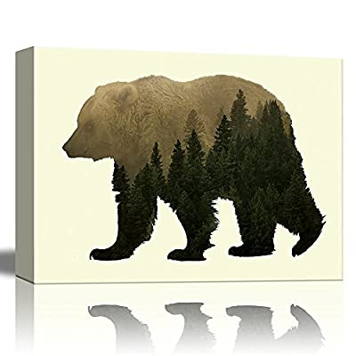 Charming Work of Art, it is good, Double Exposure Graphic of a Grizzly Bear and The Woods