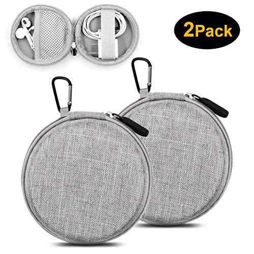 ASMOTIM Earbuds Carrying Case, EVA Hard Carrying Pouch Headphone Case Portable Travel Earphone Round Case Pouch for Airpods Headset Charge Cable USB Key with Durable Exterior,Soft Cloth ()