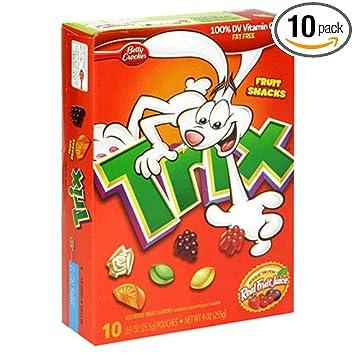 amazon com fruit shapes fruit snacks trix 9 ounce boxes pack of
