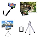 Selfie Handheld Extendable Stick Pole Monopod + Mini Tripod + Phone Holder Mount Kit Set for Apple iPhone 6 Plus 5 6 5s 5c 4 4s Samsung Galaxy S5 S4 S3 Note 4 3 2 Blackberry Sony Xperia HTC One LG (no remote control)