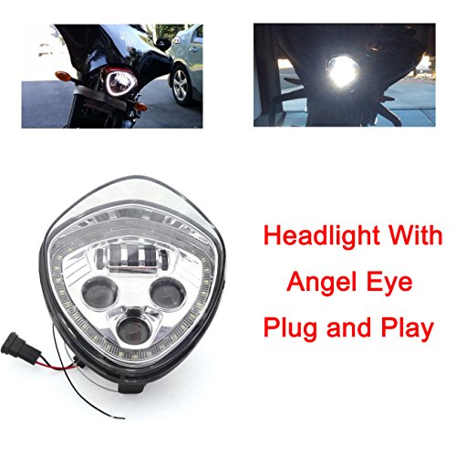 Angel Eye LED Headlight For 10-16 Victory Motorcycle Cruisers Cross Road Country (Chrome) (Crossroads Cruiser)