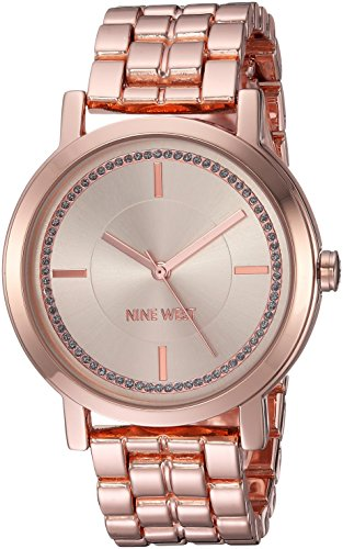 Gold Watch Crystal Color Links (Nine West Women's Quartz Metal and Alloy Dress Watch, Color:Rose Gold-Toned)