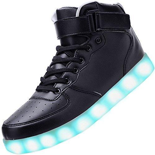 Odema Unisex LED Shoes High Top Light Up Sneakers for Women Men Girls Boys Size4.5-13 Black -