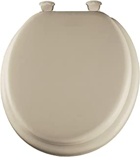 product image for Mayfair 13EC 006 Toilet Seat, Soft Round Closed Front Cushioned Antimicrobial Vinyl w/Molded Wood Core & Easy Clean & Change Hinges - Bone