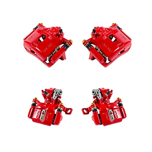 (CK01059 FRONT + REAR [ 4 ] Performance Grade Semi-Loaded Powder Coated Red Caliper Assembly Set Kit)