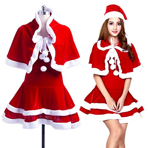 Cute Christmas Santa Costumes (Girl's Women's Santa Claus Set Velvet Miss Santa Costume Outfit Christmas Costume Dress With Cape)