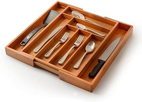 Amazon.com: Utensil Drawer Organizer, Bamboo Silverware Organizer ...