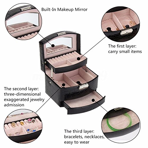 New Jewelry Box Makeup Storage Case Organizer with Mirror/Drawers Lockable - Shopping Ca Lancaster In