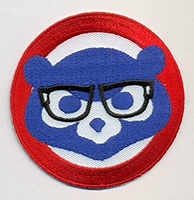Chicago Cubs with Glasses Baseball MLB Embroidered Iron On Patch Hat Jersey - 3 inch