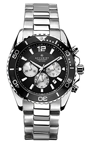(Accurist Men's Quartz Watch with Black Dial Chronograph Display and Silver Stainless Steel Bracelet 7117)