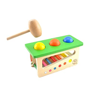 Educational Dolls, Tap Bench Xylophone Durable Wooden Musical Pounding Toy Toddlers Multifunctiona, Rainbow Sounds: Arts, Crafts & Sewing