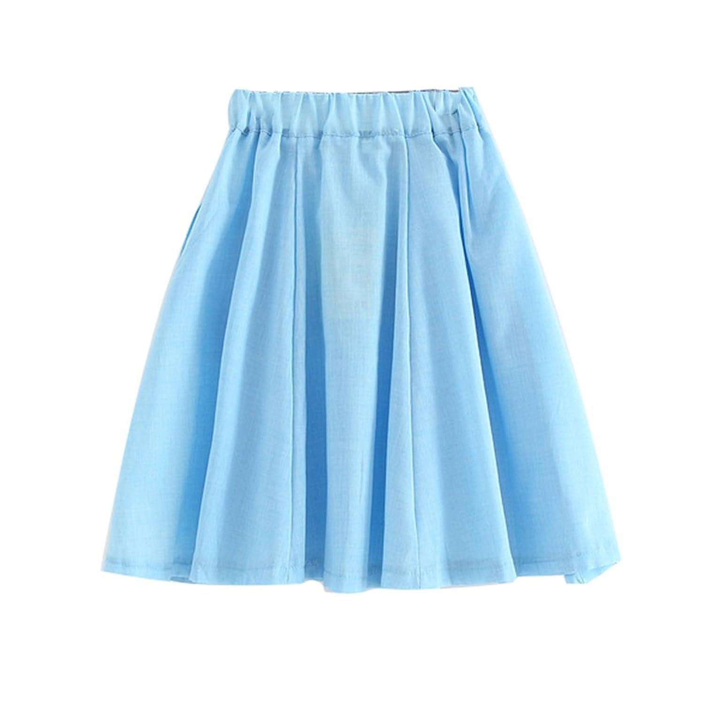 Amurleopard Girls Pure color Vintage Cotton Skirt ankle length Skirt