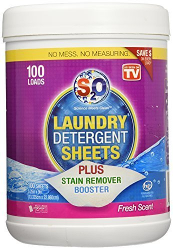 - S2O Laundry Detergent Sheets Plus Stain Remover Booster, Fresh Scent, 100 Loads by s2o