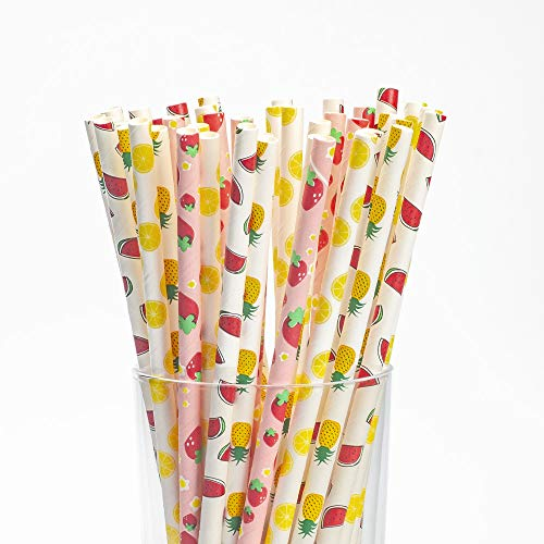 Fruit Drinking Paper Straws, Disposable Biodegradable, Pack of 100