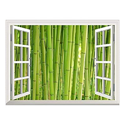 Removable Wall Sticker/Wall Mural - Bamboo Growing in Dense Forest | Creative Window View Home Decor/Wall Decor - 36