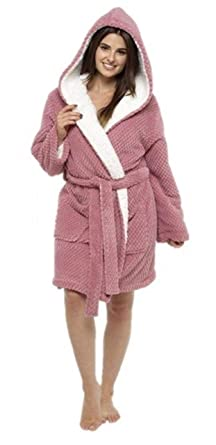 2e98550efd Ladies Girls Sherpa Lined Dressing Gown Loungewear Nightwear at Amazon Women s  Clothing store