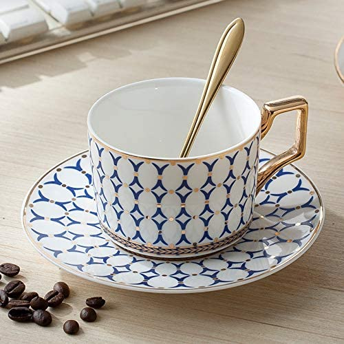 Amazon.com | Cup&Saucer Set European Royal Coffee Cup Set British Cup and Saucer First-class Ceramics Western Tea Cup Afternoon Tea Cup with Golden Rose Spoon (Blue B): Cup & Saucer Sets