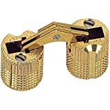 Pack of 2 Cylindrical 16mm Brass Barrel Invisible Furniture Hinge Concealed Hinge 180° Opening Angle