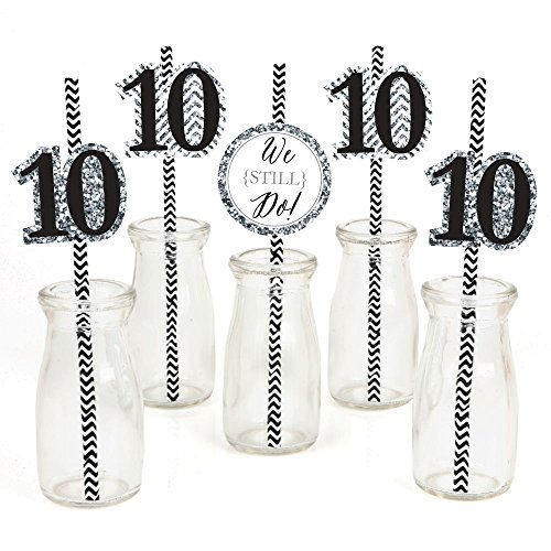 We Still Do Paper Straw Decor - 10th Wedding Anniversary Party Striped Decorative Straws - Set of 24 ()