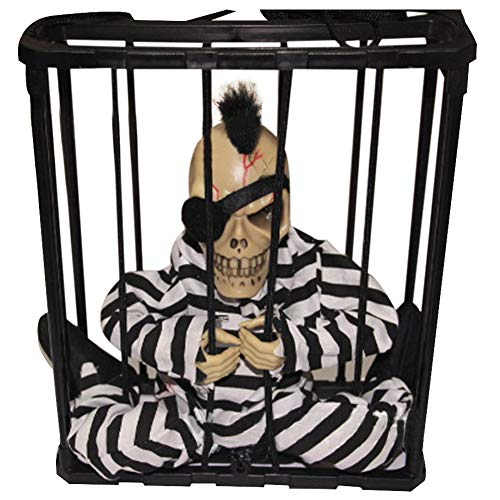 JHion Halloween Trick Toys Electric Lighting Prank Toys Skull Head Utter Ghosts in Cage for Children Adult Gift