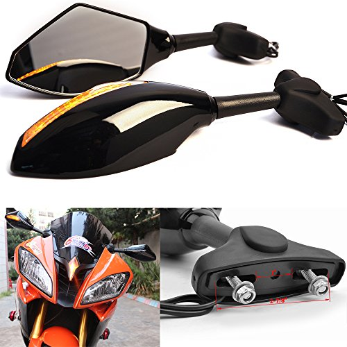 Motorcycle Rearview Side Mirrors with Turn Signals Indicator Led for Sport Bike Honda Suzuki by Rich Choices