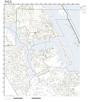 Map Of Stuart Florida.Amazon Com Zip Code Wall Map Of Stuart Fl Zip Code Map Not