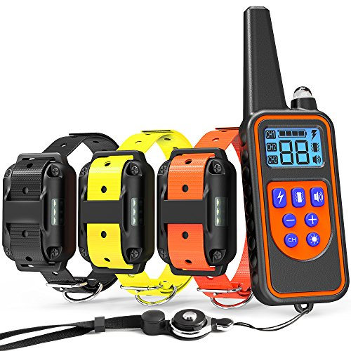Veckle Dog Training Collar, 2600ft Rechargeable Shock Collar for 3 Dogs Waterproof Dog Shock Collar with Remote, LED Light, Beep, Vibration Dog Electronic Collar for Large and Medium Dogs by Veckle