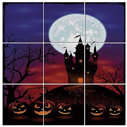 iPrint 9 Piece Canvas Wall Art - Halloween Decorations Modern Home Decor Stretched and Framed Ready to Hang,Gothic Haunted House Castle Hill Valley Night Sky October Festival Theme,60