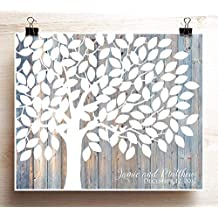 Wedding Guest Book Alternative Print Woodgrain Look Wedding Tree Poster for 125 Guests 16x20 and up