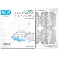 """PurePulse Pro TENS Unit Massager Pads – Premium 5-Pack of 4 Square, Self-Adhesive 2"""" x 2"""" Replacement Electrode Pads (Total of 20 Pads)"""