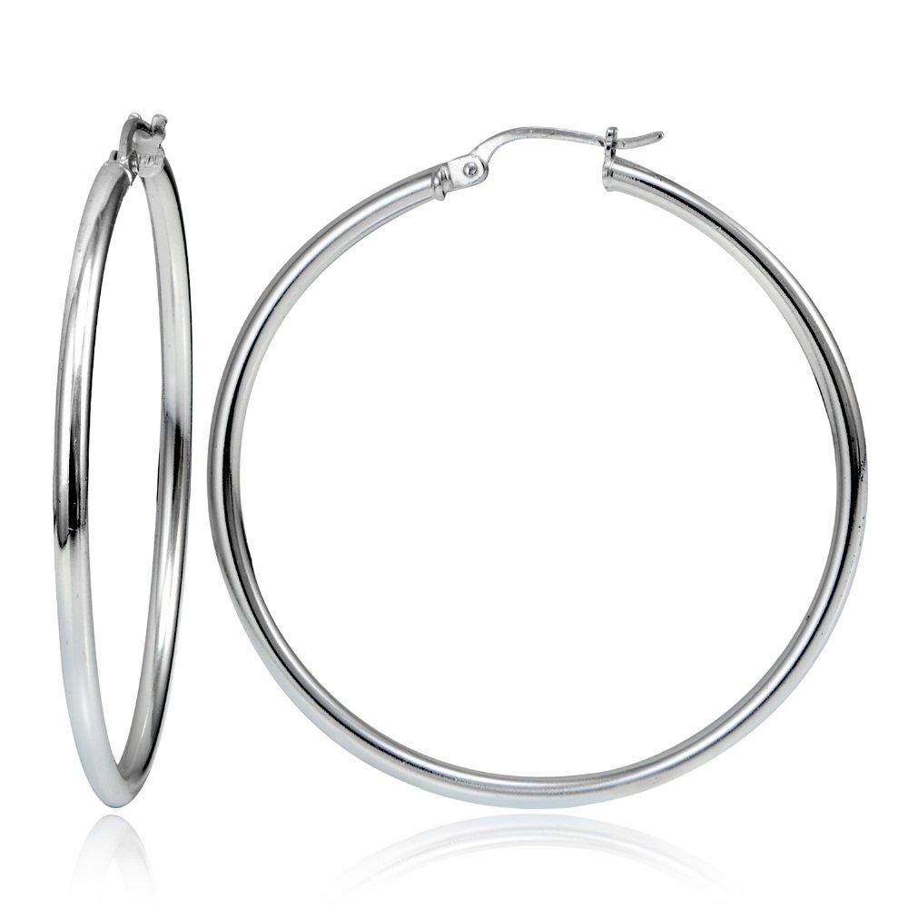 Hoops & Loops Sterling Silver 2mm High Polished Round Hoop Earrings, 50mm