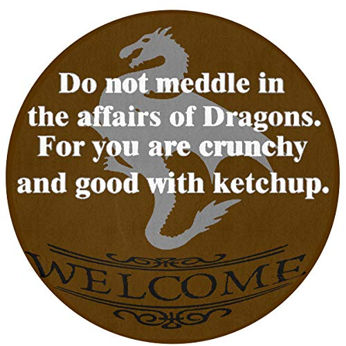 - Do Not Meddle in The Affairs of Dragons Non-Slip Backing Machine Washable Round Area Rug Foam Mat Living Room Bedroom Study Children Playroom Super Soft Carpet Floor Mat Home Decor 23.6Inch Diameter