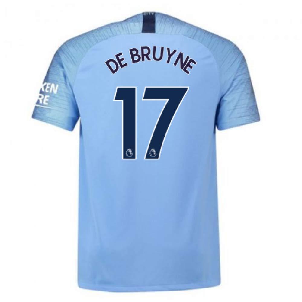 2018-2019 Man City Home Nike Football Soccer T-Shirt Trikot (Kevin De Bruyne 17) - Kids